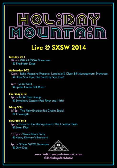 Holiday Mountain SXSW Schedule